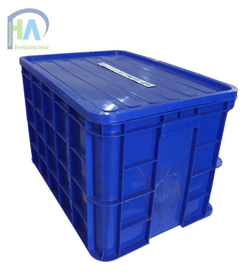 Thùng nhựa đặc cao 390 mm có nắp giá rẻ