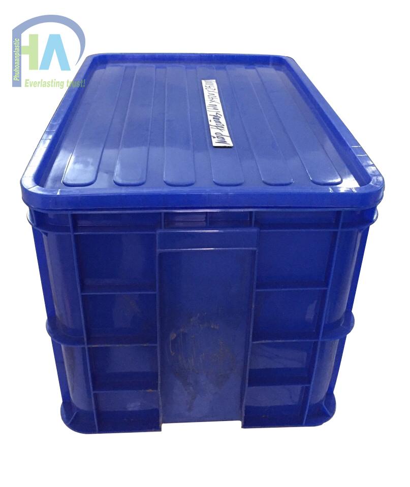 Thùng nhựa đặc cao 390 mm có nắp cao cấp