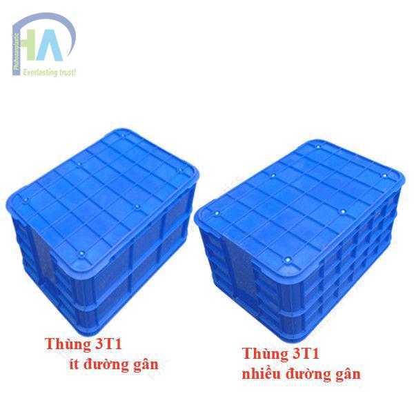 Thùng nhựa đặc 3T1 có các đường gân tăng cứng chắc chắn