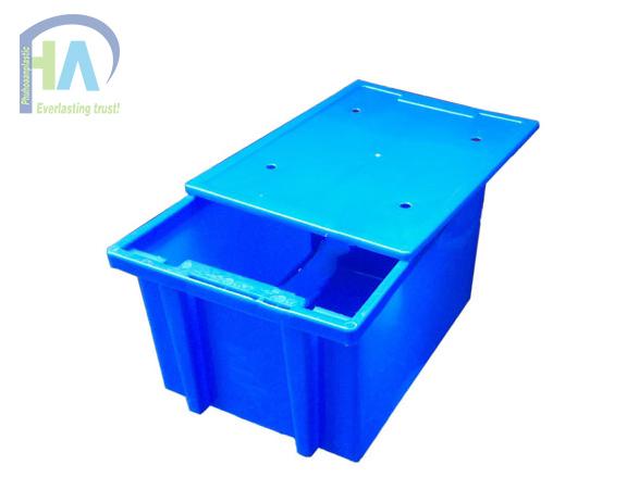 Thùng nhựa đặc 25 có nắp (sóng nhựa bít) bền đẹp
